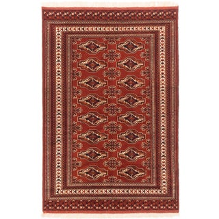 Shop Shiravan Bokhara Dark Orange Red Wool Geometric Rectangular Rug