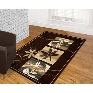 LYKE Home Hand Carved Chocolate Floral Area Rug (5'3 x 7'2)