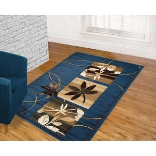 LYKE Home Hand Carved Blue Floral Area Rug (5'3 x 7'2)