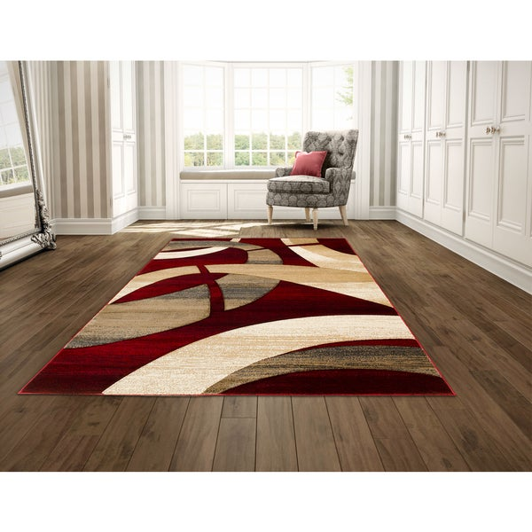 Lyke Home Hand Carved Red Abstract Area Rug 5 X 7