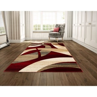 LYKE Home Hand Carved Red Abstract Area Rug (5' x 7')