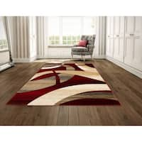 LYKE Home Hand Carved Red Abstract Area Rug (5' x 7') - 5'3 x 7'2
