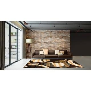 LYKE Home Abstract Chocolate Area Rug (5' x 7')
