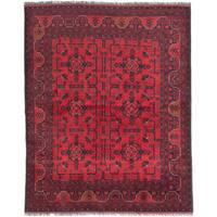 Finest Khal Mohammadi Black/ Red Wool Geometric Rectangular Rug