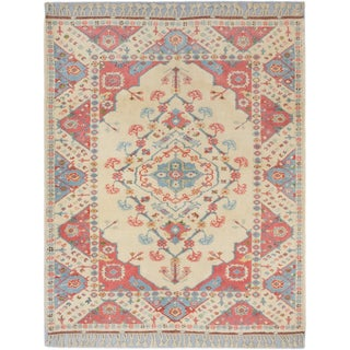 Ushak Cream Wool Medallion Corners Rectangular Rug (5'0 x 5'1)
