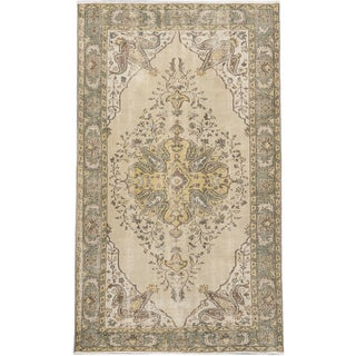 Anatolian Sunwash Cream/ Teal Wool Medallion Corners Rectangular Rug (5'9 x 9'10)