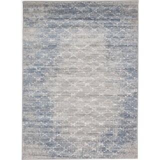 ecarpetgallery Madiba Grey/ Blue Rug (5' x 7')