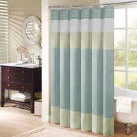 "Madison Park Chester Pieced Faux Silk Shower Curtain in Aqua 72x72""(As Is Item)"