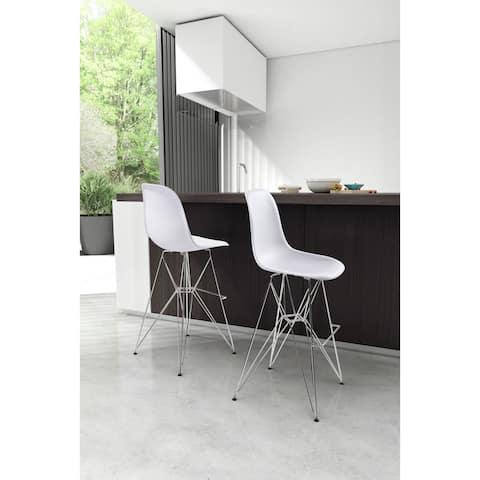 Zip Chrome Base White Modern Bar Chair