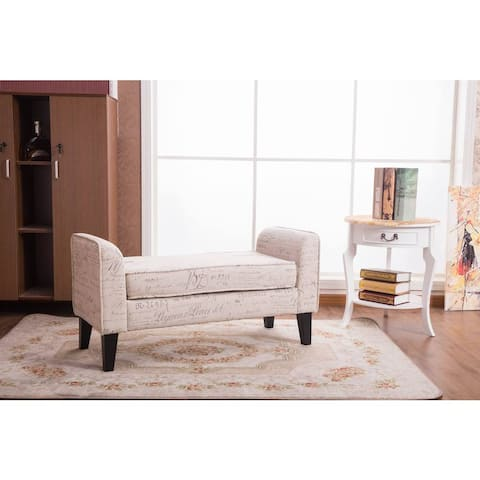 Toni Off-white 37-inch Sign-pattern Cusioned Ottoman Bench