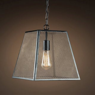 Andaya 1-light Black Square 14-inch Edison Chandelier with Bulb