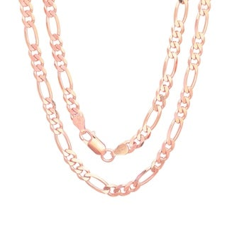 Rose Gold Plated Silver Italian 5 mm Figaro Chain (18-30 Inch) - Pink