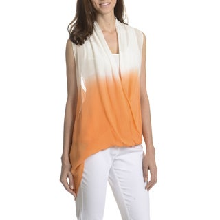 Joan Vass New York Women's Dip Dye Sheer Overlay Top