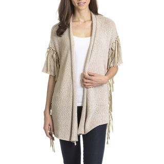Joan Vass New York Women's Faux Suede Fringe Cardigan