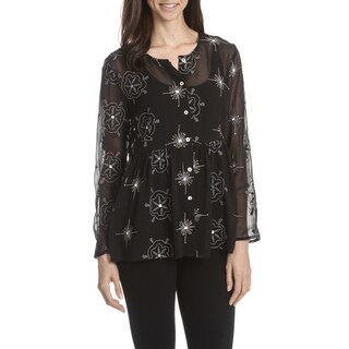 Joan Vass New York Women's Embroidered and Sequin Babydoll Top