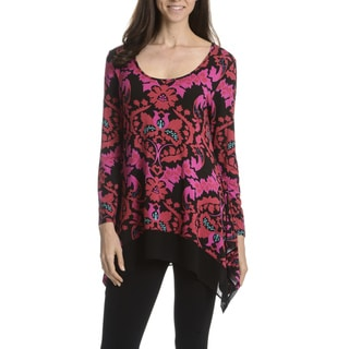 Joan Vass New York Women's Floral Print Tunic Top