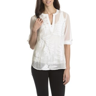 Joan Vass New York Women's Sheer Leaf Embroidery Overlay Top