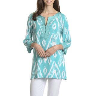 Joan Vass New York Women's Ikat Print Embroidered Tunic Top