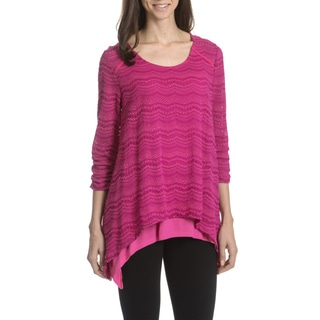 Joan Vass New York Women's Eyelet Layered Tunic Top