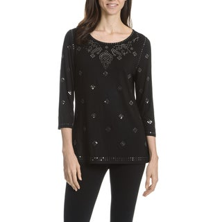 Joan Vass New York Women's Sequin 3/4 Sleeve Top
