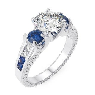 Svetlana Sterling Silver Cubic Zirconia Couture Engagement Ring