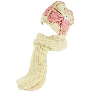 Kate Marie Women's Knitted Studded Beanie with Scarf