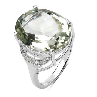 Olivia Leone 8.28 Carat Genuine Green Amethyst and White Topaz .925 Sterling Silver Ring|https://ak1.ostkcdn.com/images/products/10904118/P17936837.jpg?impolicy=medium