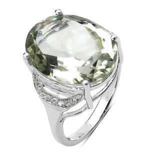 Olivia Leone 8.28 Carat Genuine Green Amethyst and White Topaz .925 Sterling Silver Ring