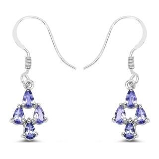 Olivia Leone 1.60 Carat Genuine Tanzanite .925 Sterling Silver Earrings