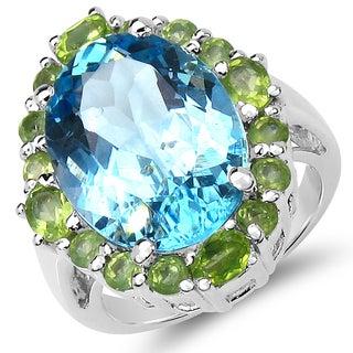 Malaika 12.80 Carat Blue Topaz and Peridot .925 Sterling Silver Ring