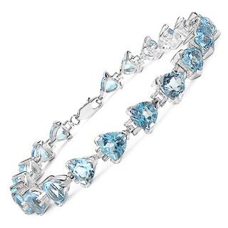 Malaika 16.80 Carat Genuine Blue Topaz .925 Sterling Silver Bracelet