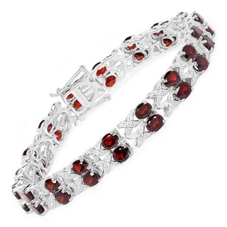 Malaika 18.36 Carat Genuine Garnet and White Topaz .925 Sterling Silver Bracelet