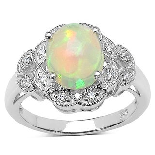 Olivia Leone 2.00 Carat Ethiopian Opal and White Cubic Zirconia .925 Sterling Silver Ring