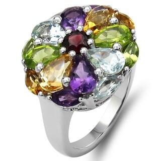 Olivia Leone 5.00 Carat Genuine Multi Stone .925 Sterling Silver Ring