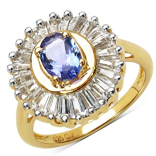 Olivia Leone 14K Yellow Gold Plated 2.16 Carat Genuine Tanzanite and White Topaz .925 Sterling Silver Ring