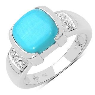 Olivia Leone 2.64 Carat Turquoise and White Sapphire .925 Sterling Silver Ring