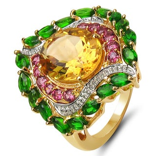 Malaika 6.29 Carat Genuine Citrine, Rhodolite And Chrome Diopside .925 Sterli