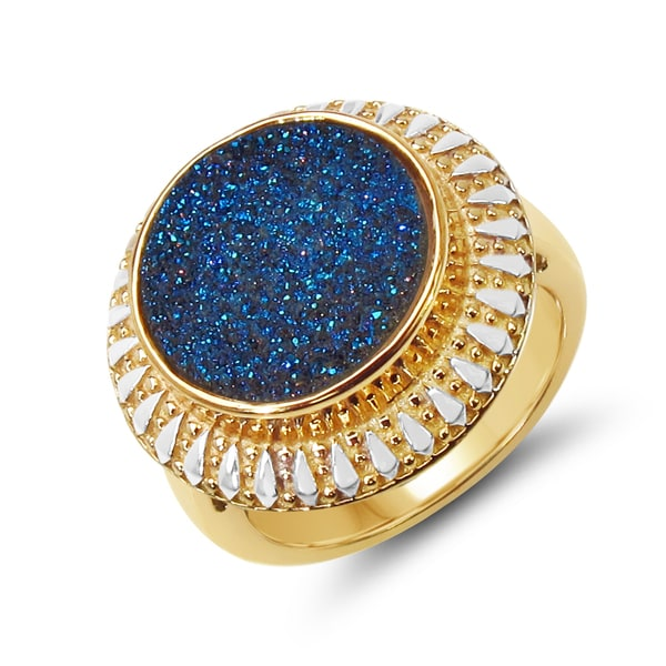 Malaika 14K Yellow Gold Plated 4.90 Carat Genuine Blue Drusy .925 Sterling Silver Ring. Opens flyout.