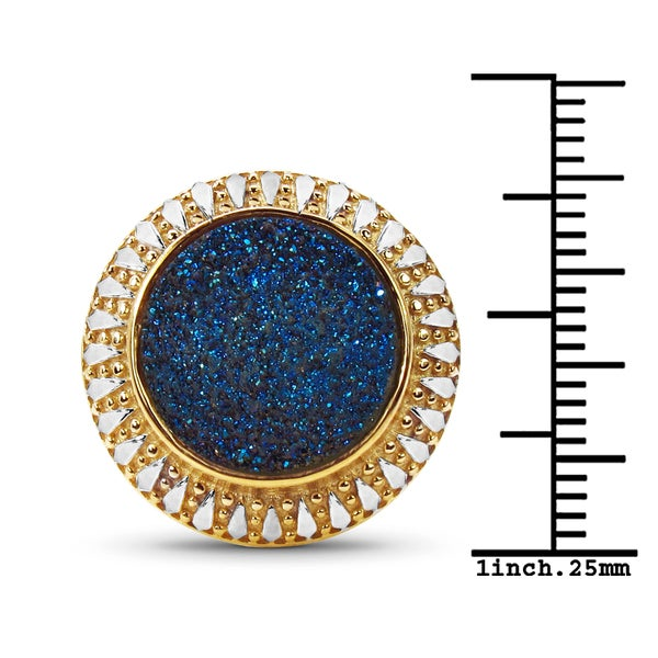 Malaika 14K Yellow Gold Plated 4.90 Carat Genuine Blue Drusy .925 Sterling Silver Ring