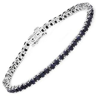 Olivia Leone 7.42 Carat Genuine Black Sapphire .925 Sterling Silver Bracelet