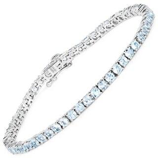 Olivia Leone 6.30 Carat Genuine Blue Topaz .925 Sterling Silver Bracelet