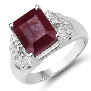 Malaika 4.76 Carat Genuine Ruby and White Diamond .925 Sterling Silver Ring