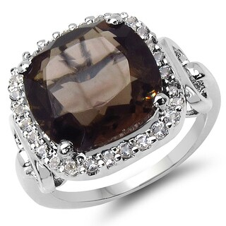 Malaika 6.70 Carat Smoky Quartz and White Topaz .925 Sterling Silver Ring