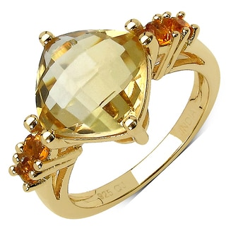Olivia Leone 14K Yellow Gold Plated 3.90 Carat Genuine Golden Citrine .925 Sterling Silver Ring
