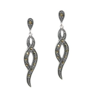 Queenberry Sterling Silver Marcasite Infinity Twist Dangle Earrings