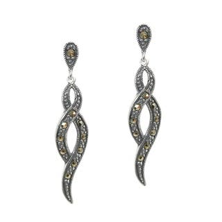 Queenberry Sterling Silver Marcasite Infinity Twist Dangle Earrings|https://ak1.ostkcdn.com/images/products/10904156/P17936769.jpg?impolicy=medium