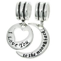 Queenberry Sterling Silver 'I Love You to the Moon and Back' Hear Dangle European Bead Charm