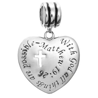 Queenberry Sterling Silver 'With God All Things Are Possible' Christian Cross Dangle European Bead C https://ak1.ostkcdn.com/images/products/10904160/P17936773.jpg?impolicy=medium