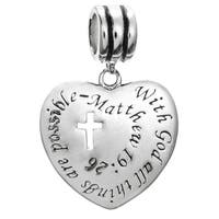 Sterling Silver 'With God All Things Are Possible' Christian Cross Dangle European Bead Charm