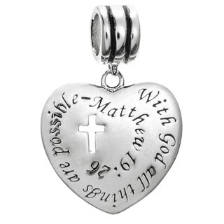 Sterling Silver 'With God All Things Are Possible' Christian European Bead Charm